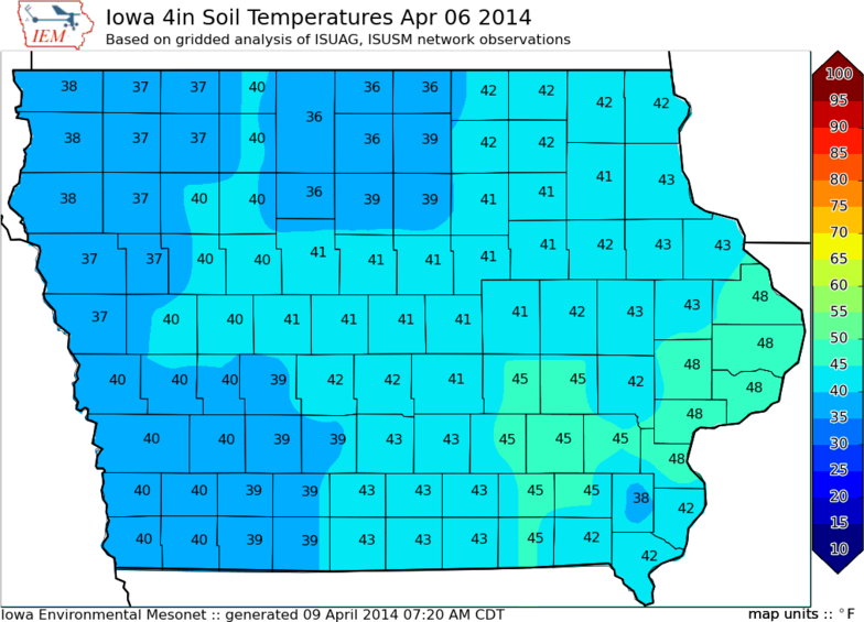 Gardening in iowa yvonne mccormick 39 s favorite for Soil temperature map